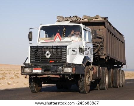 SINAI, EGYPT - CIRCA JUNE 2012: Egyptian Renault truck speeds though the Sinai Desert