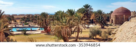 Sinai, Egypt - January 17, 2012: thermal baths of the famous Hammam Moussa in El Tur. - stock photo