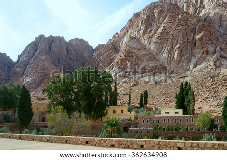 SINAI, EGYPT - NOVEMBER 28, 2013: St. Catherine's Monastery at the foot of Mount Moses - stock photo