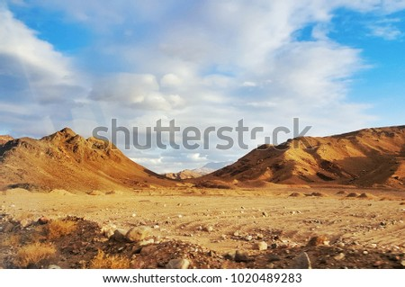 Sinai mountain desert with beautiful cloud