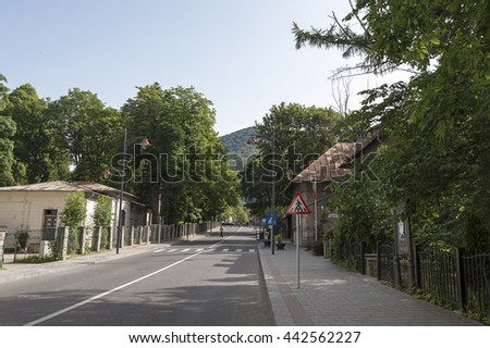 Sinaia, ROMANIA - June 18 2016: Quiet streets of Sinaia mountain resort in the morning. SINAIA - June 18 2016