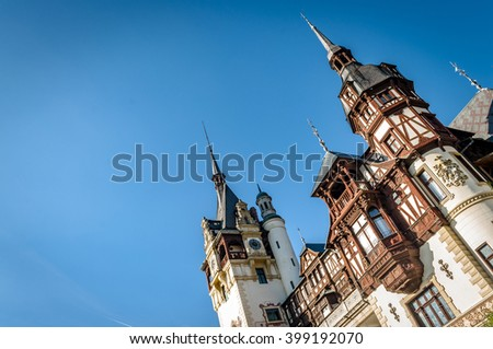 Sinaia, Romania - October 19th,2014 View of Peles castle in Sinaia, Romania, built by king Carol I of Romania. The castle is considered to be the most important historic building in Romania. - stock photo