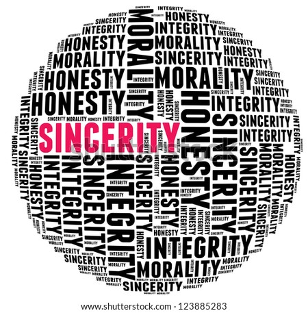 Sincerity in word cloud with several positive qualities and characteristics
