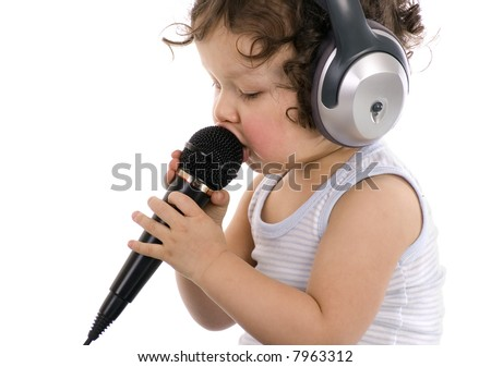 Sing baby with headphones and microphone,isolated on a white background.