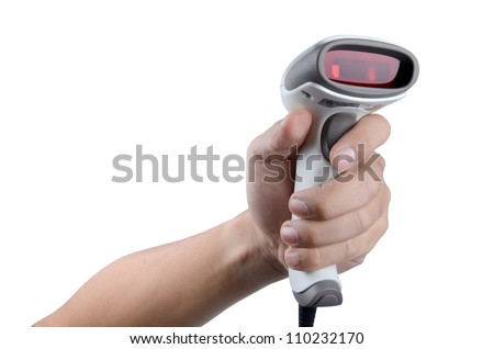 sing Scanner for scanning bar code read data to database server with Clipping path - stock photo