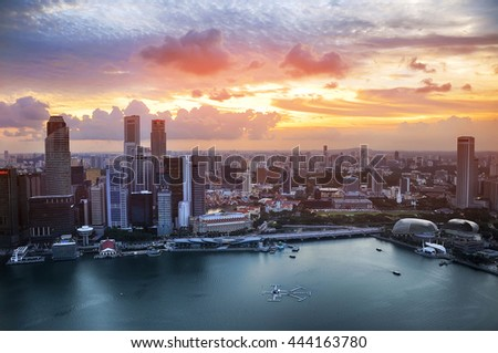 Singapore aerial city view at sunset, city at sunset, megalopolis view