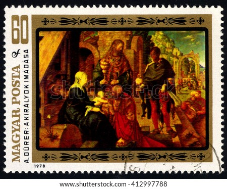"""SINGAPORE  APRIL 29, 2016: A stamp printed in Hungary, shows a picture of artist Albrecht Durer """"Adoration of the Magi"""", circa 1978 - stock photo"""