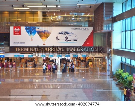 SINGAPORE - APRIL 4, 2016: Airport Terminal 1 at Arrival Immigration - stock photo