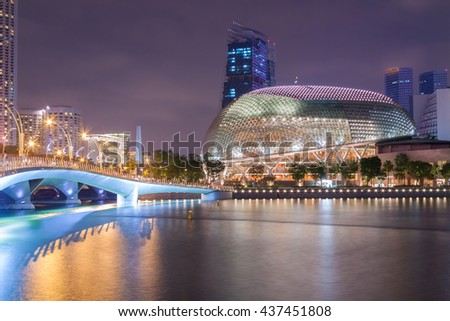 SINGAPORE - 10 APRIL 2016: Esplanade theatre locating around the Marina Bay in Singapore on 10 April 2016. The Esplanade was developed at a cost of about SGD 600 million