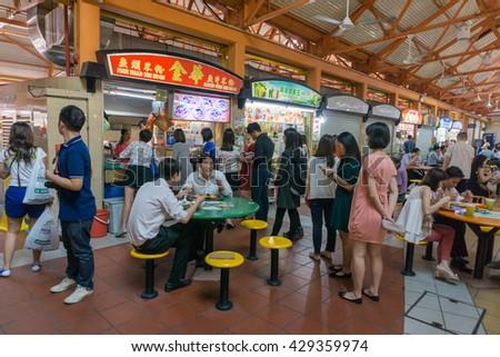 SINGAPORE - APRIL 12 : Fish head Bee Hoon restaurant on April 12, 2016 in Singapore. Singapore's fish soup famous bargain enjoy eating destination. - stock photo
