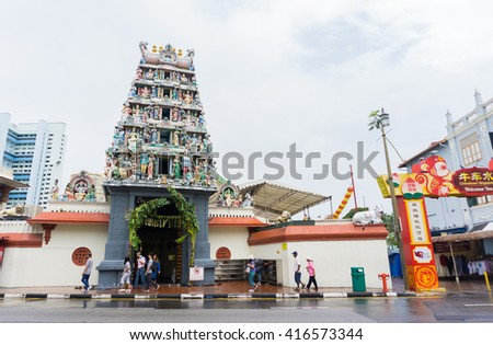 SINGAPORE - 15 APRIL, 2016: Hindu temple Sri Mariamman in Singapore. It is famous among tourists visiting Singapore.