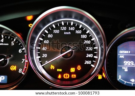 SINGAPORE - APRIL 13: Instrument cluster of new Mazda CX-5 crossover SUV at its launch April 13, 2012 in Singapore