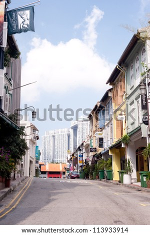 SINGAPORE - APRIL 21: Located within the larger district of Outram, Singapore's Chinatown is an ethnic neighbourhood with a mix of architectural styles. April 21, 2011 in Singapore, Singapore. - stock photo