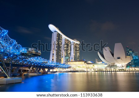 SINGAPORE - APRIL 30: Marina Bay Sands is an integrated resort and is billed as the world's most expensive standalone casino property. April 30, 2011 in Singapore, Singapore - stock photo