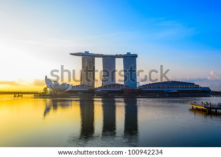 SINGAPORE-APRIL 6 : Marina Bay Sands Resort Hotel onApril 6, 2012 in Singapore. It is billed as the world's most expensive standalone casino property at S$8 billion. - stock photo