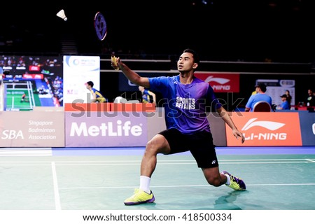 Singapore - 15 April 2016: Mens singles Tommy Sugiarto of Indonesia versus Lin Dan of China in OUE Singapore Open 2016 quarter finals.