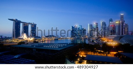 SINGAPORE, 4 April 2016 - Singapore;s famous Marina Bay Sands and city skyline at night