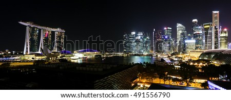 SINGAPORE, 2 April 2016 - Singapore;s famous Marina Bay Sands and city skyline at night