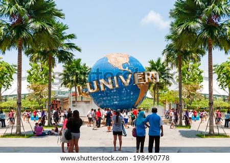 SINGAPORE - April 14: UNIVERSAL STUDIOS SINGAPORE sign on April 14,2014. Universal Studios Singapore is a theme park located within Resorts World Sentosa on Sentosa Island, Singapore. - stock photo