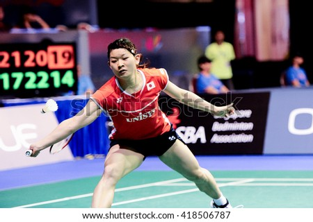 Singapore - 16 April 2016: Womens Doubles Misaki Matsutomo and Ayaka Takahashi of Japan versus Tian Qing and Zhao Yunlei of China in OUE Singapore Open 2016 semi finals.