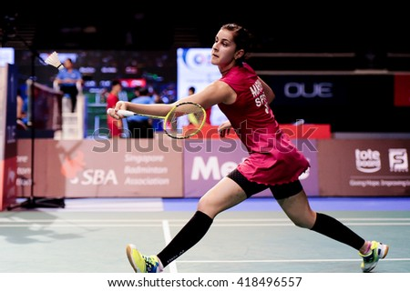 Singapore - 15 April 2016: Womens singles Carolina Marin of Spain versus Akane Yamaguchi of Japan in OUE Singapore 2016 quarter finals.