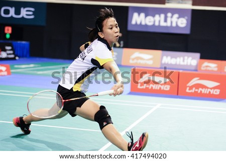 Singapore - 12 April 2016: Womens' singles Lyanny Alessandra Mainaky of Indonesia versus Chen Hsiao Huan of Taipei in OUE Singapore Open 2016 qualifying rounds.