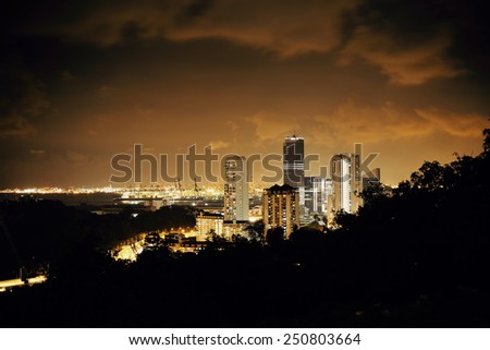 Singapore architecture and urban cityscape night view - stock photo