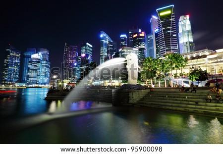 Singapore at night - stock photo