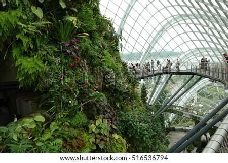 SINGAPORE - 27 AUG: Cloud Forest, Garden by the Bay in Singapore on 27 August 2016
