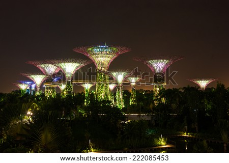 singapore aug 23 night view of super tree grove on august 23 2014