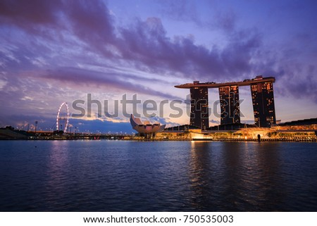 SINGAPORE - AUG 22, 2017 : view of urban cityscape of Singapore with sunrise