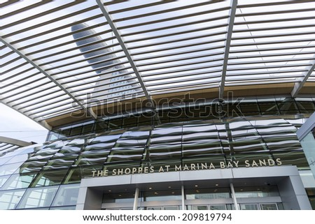 SINGAPORE - AUGUST 4, detail of Marina Bay Sands tower on August 4, 2014 in Singapore