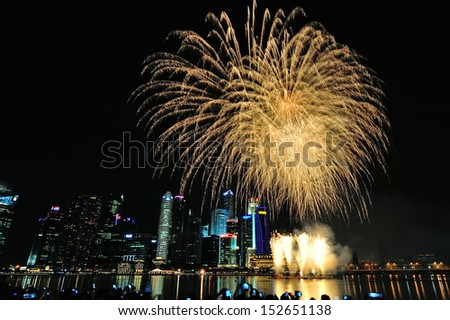 SINGAPORE - AUGUST 09: Fireworks display during National Day Parade (NDP) 2013 on August 09, 2013 in Singapore
