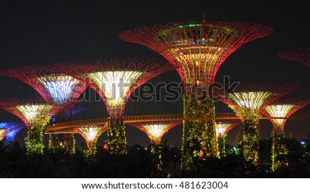singapore august 31 2016 futuristic view of amazing illumination at garden by the bay
