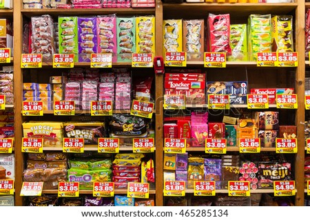 SINGAPORE - AUGUST 06, 2016: interior of grocery store in Singapore. Singapore is a leading global city in Southeast Asia and the world's only island city-state.