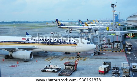 SINGAPORE - AUGUST 07: Row of Singapore Airlines, Tiger Air and Silkair aircraft parked at Changi Airport on August 07, 2015 in Singapore
