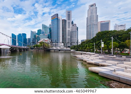 Singapore-AUGUST  6,2016 : Singapore city skyline with buildings in business district by Singapore river