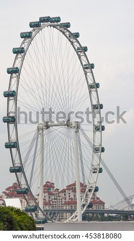 SINGAPORE - AUGUST 08 , 2015 ;Singapore Flyer. The largest Ferris wheel in the Singapore .