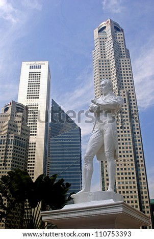SINGAPORE - AUGUST 11: Sir Stamford Raffles on August 11, 2012 in Singapore. The founder of Singapore had landed on this spot for the first time and started to build a new city in Asia.