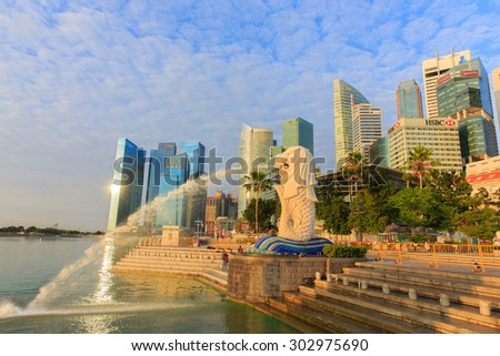 SINGAPORE-AUGUST 2:The Merlion fountain  in morning on August 2, 2015. Merlion is an imaginary creature with a head of a lion and the body of a fish and is often seen as a symbol of Singapore.