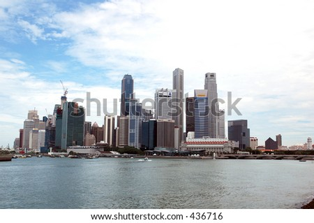 Singapore Business District City Skyline