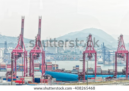 Singapore cargo terminal,one of the busiest ports in the world, Singapore. - stock photo