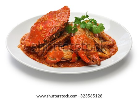 singapore chili crab isolated on white background