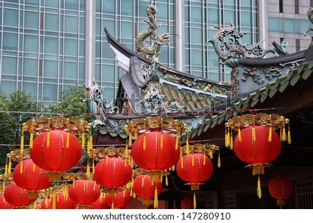 Singapore - Chinese New Year celebratory lanterns in a Buddhist temple - stock photo