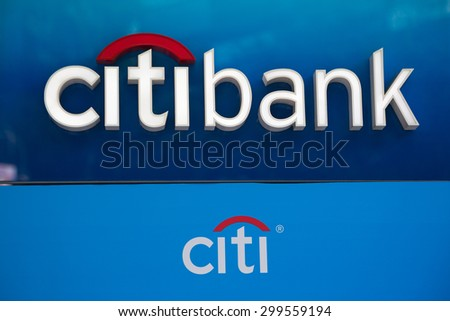 SINGAPORE - CIRCA FEBRUARY, 2015: Citibank sign and logo in front of the bank on Orchard Road in Singapore. Citibank is a major international bank. - stock photo