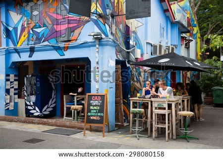 SINGAPORE - CIRCA FEBRUARY, 2015: Graffiti on the walls of old buildings Haji Lane. Haji Lane is the Kampong Glam (Arab Quarter) quarter famous for its cafes, restaurants and shops. - stock photo