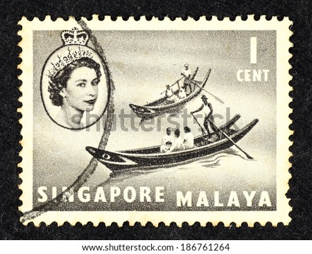 SINGAPORE - CIRCA 1961: Grey color postage stamp printed in Singapore with image of native sampan. - stock photo