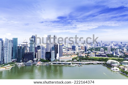 SINGAPORE - CIRCA MAY 2014: Urban landscape of Singapore. Skyline and modern skyscrapers of business district Marina Bay Sands at most financial developing Asian city state. - stock photo