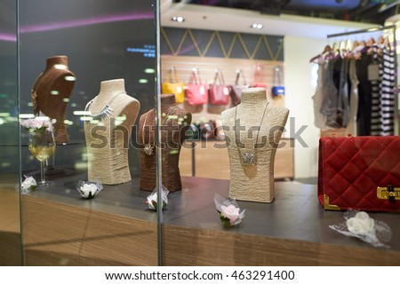 SINGAPORE - CIRCA NOVEMBER, 2015: goods in a store at Changi Airport. Changi Airport  is the primary civilian airport for Singapore and one of the largest transportation hubs in Southeast Asia.