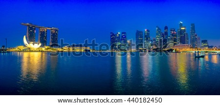 SINGAPORE - CIRCA SEPTEMBER, 2015: Downtown panorama at dawn from Marina Bay, Singapore